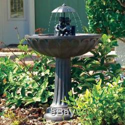 Outdoor Waterfall Solar Patio Fountain Statue Garden Yard Decor Bronze Birdbath
