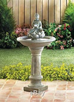Outdoor Zen Buddha asian garden patio water fountain bird bath with LED orb light