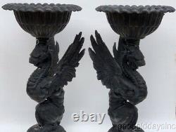 Pair of Vintage Cast Aluminum Griffin Planters Birdbath Metal Flower Pot Urn