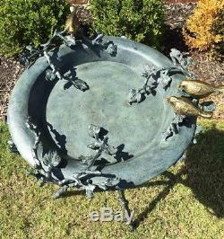 Patina Finish Aluminum Love Birds and Branch Birdbath Feeder 34H Garden Decor