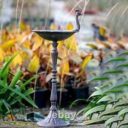 Peacock Bird Feeders Bath Water Food Feeding Station Outdoor Garden Ornament
