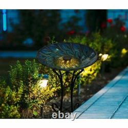 Peacock Feather Durable Glass Garden Bird Bath With Stand Solar LED Light Blue