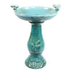 Pedestal Bird Bath Ceramic with Two Bird Basin Accent Outdoor Garden Decor Green