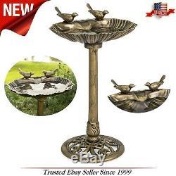 Pedestal Bird Bath, Garden Outdoor Yard Lawn Water Birdbath, Sparrows Art Decor
