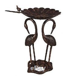 Pedestal Bird Bath Two Crane Lily Aluminum Antique Copper Outdoor Garden Decor