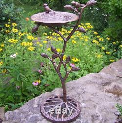 Pedestal Bird Bath for Outdoor Garden Ornament Antique Birdbath Art Deco Bronze