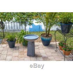 Pedestal Concrete Finish Outdoor Bird Bath Garden Accent Decor Patio Lawn Deck