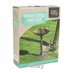 Plastic Bird Bath Ornamental Garden Feeder Food Feeding Station Bronze Effect