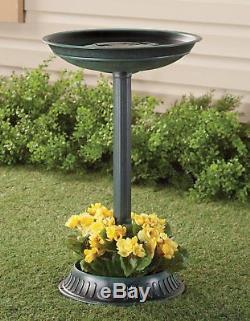 Plastic Modern Birdbath with Planter 25 High Ground Stakes Durable Yard Garden