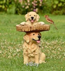 Playful Puppies Golden Retriever Weather-Resistant Birdbath for Outdoor Gardens