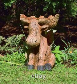 Plow & Hearth Northwoods Sitting Moose with Antlers Birdbath, Garden and Landsca