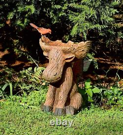 Plow Hearth Northwoods Sitting Moose with Antlers Birdbath, Garden and Landsca