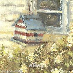 Pool Party, Goldfinches Debra Sepos original oil 8 x 10 birdbath & birdhouse