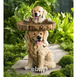 Puppies Birdbath Pedestal Garden Sculpture Statue Bird Bath Art Yard Water Bowl