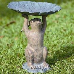 Rabbit Birdbath Garden Sculpture Statue Bird Bath Or Bird Feeder 17H