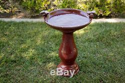 Red Ceramic Birdbath Antique Bird Bath with Birds Outdoor Garden Decor Furniture