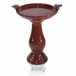 Red Ceramic Pedestal Birdbath with Bird Sculptures Figurines Outdoor Garden Decor