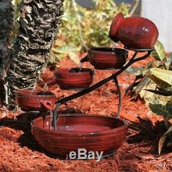 Red Lava Ceramic Cascading Smart Solar Fountain Bird Bath Outdoor Garden Yard
