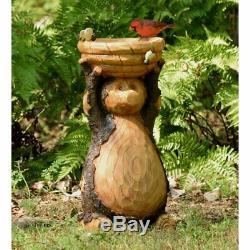 Resin Bear Birdbath Garden Sculpture Statue Bird Bath Art Yard Water Bowl Rustic