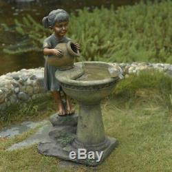 Resin Bird Bath Outdoor Water Fountain Birdbath Bowl Garden Yard Water Metal