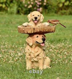 Resin Birdbath Carved Dog Puppies Pedestal Stand Yard Garden Outdoor Decor 22H
