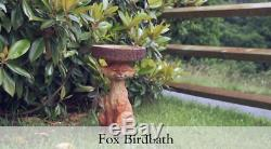 Resin Standing Fox Birdbath Statue Rustic Outdoor Garden Patio Home Decor 2' New