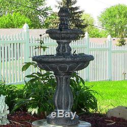 Resin Water Fountain Solar on Demand Outdoor Garden Backyard Birdbath Waterfall
