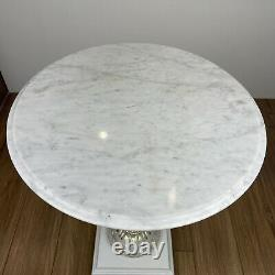 Retro Up-cycled Cherub Lead Crystal Stem Marble Top Garden Table
