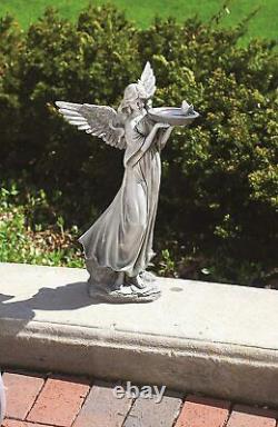 Roman 19119 Angel With Butterfly and Bird Bath Statue, 20.25 H, Garden
