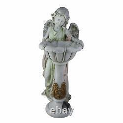 Roman 23IN Joseph's Studio Angel Outdoor Garden Statue Solar Powered Bird Bath