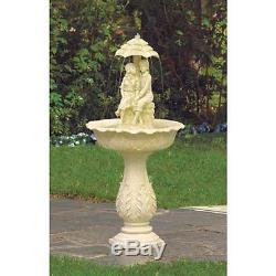 Romantic boy girl couple under umbrella statue birdbath Outdoor Garden Fountain