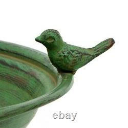 Round Pedestal Birdbath with Bird Details in Green Yard, Deck, Patio, Garden
