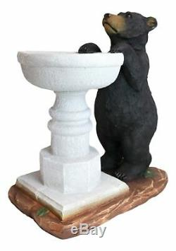 Rustic Black Bear by Wishing Fountain Bird Feeder Or Bath Garden Statue 27H