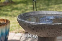 Rustic Outdoor Birdbath Decor Garden Bird Bath Bold Pedestal Water Bowl NEW