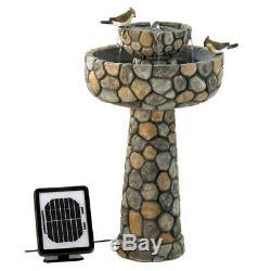 SOLAR Courtyard Faux Stone Bird Bath Outdoor Garden Wishing Well Water Fountain
