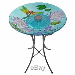 SOLD OUT-Peaktop Outdoor Décor Garden Glass Solar Bird Bath Water Metal Table 32