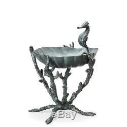 SPI Home Seahorse Birdbath Bird Feeder Garden Sculpture Coral Sea Life New