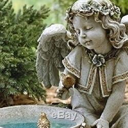 Sitting Angel Bird Bath Statue Solar Power Lawn Garden Sculpture Decor Figurine