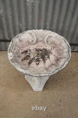 Small 20 Concrete Garden Birdbath 3 Dolphin Fish Pedestal Base Shell Vtg 2 Pc