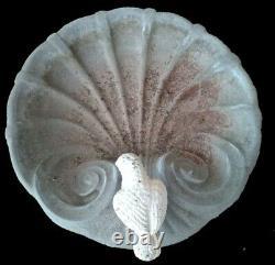 Small Concrete Garden Shell Dove Birdbath 3 Fish Pedestal Base Vintage 2 Pc