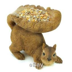 Small Squirrel shape Bird Bath patio deck rail seed feeder outdoor garden statue