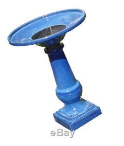Smart Garden 25372RM1 Athena Glazed Blue Ceramic Birdbath Fountain With Solar