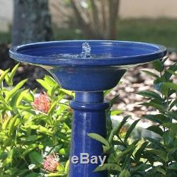 Smart Garden Athena Glazed Blue Ceramic Birdbath Fountain With Solar on Demand
