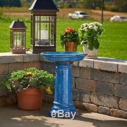 Smart Garden Bird Bath 17 in. Handcrafted Ceramic Material Blue (2-Piece)