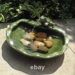 Smart Garden Solar Ceramic Frog Garden Water Feature Fountain Bird Bath