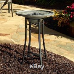 Smart Solar Birdbath Fountain Distressed Grey Cement Stone Outdoor Garden Patio