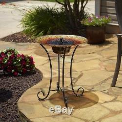 Smart Solar Birdbath Sunflower Glass Sturdy Steel Outdoor Patio Garden Deck New