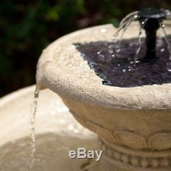 Smart Solar Kensington Gardens 2-Tier Solar Bird Bath Fountain