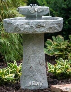 Solar Bird Bath 2 Tier Rock Fountain Garden Water Resin Backyard Outdoor Decor