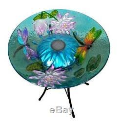 Solar Bird Bath Dragonfly Fusion Round Bowl Glass Birdbath Fountain Garden Decor